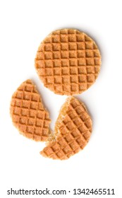 Sweet waffle biscuits isolated on white background. Dutch waffles with caramel.
