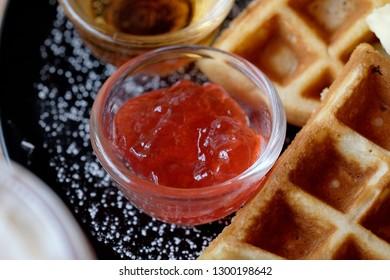 Sweet waffle dish, Close up to strawberry jam.