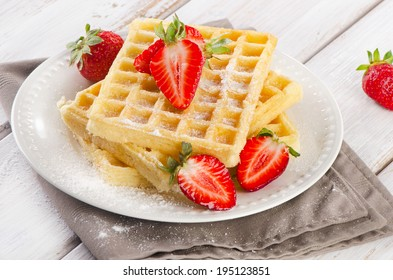 Sweet Waffles with fresh berries. Selective focus