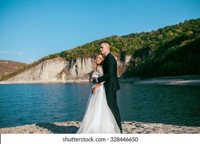 Sweet Wedding. Bride and Groom outdoor