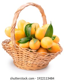 Sweet Yellow Marian Plum in Bamboo basket isolated on white background, Tropical fruit Mayongchid, Maprang, on white background With clipping path.