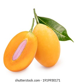 Sweet Yellow Marian Plum isolated on white background, Tropical fruit Marian Plum, Mayongchid, Maprang, on white background With clipping path.