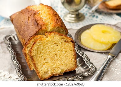 Sweet yoghurt cake with olive oil, coconut and pineapple