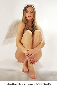 sweet young angel girl with wings