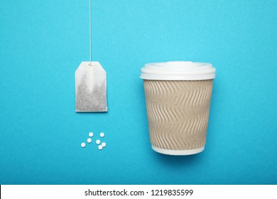 Sweetener tablets in tea beverage. Aspartame, sucralose, stevia rebaudiana.