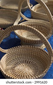 sweetgrass baskets lined up for sale