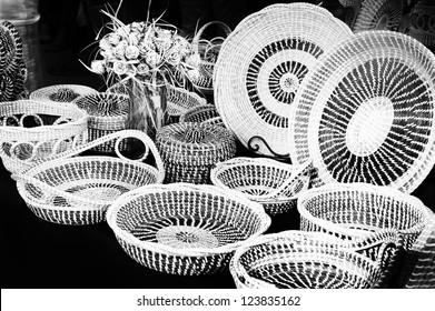 Sweetgrass baskets on display in Charleston, South Carolina