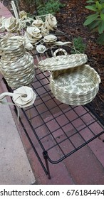 sweetgrass baskets and palm roses