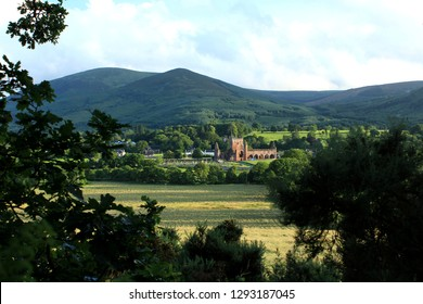 Sweetheart Abbey and Criffel Hill, New Abbey, Dumfries, Scotland