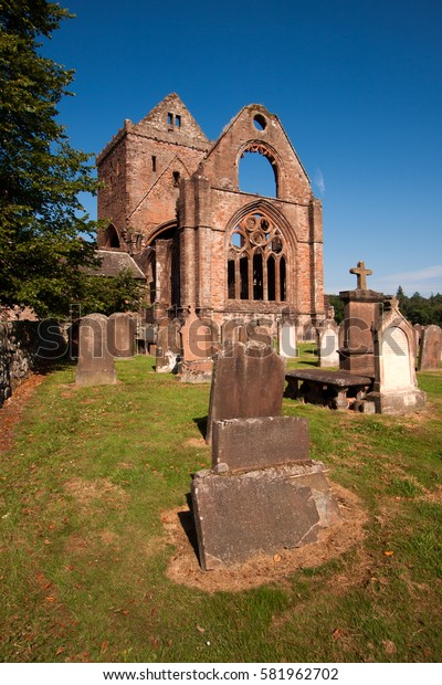 Sweetheart Abbey, Dumfries and Galloway, Scotland is a ruined Cistercian monastery founded in 1273 by Lady Dervorgilla in memory of her husband John Balliol.