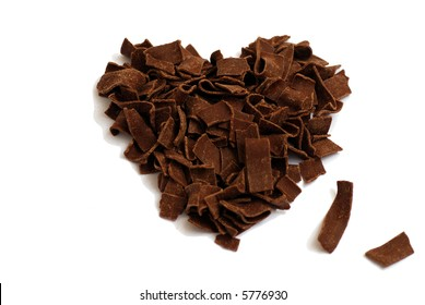 Sweetheart (made of chocolate chips) against white background.