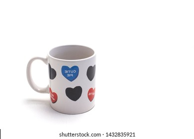 sweetheart mug with hearts closeup
