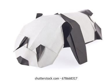Sweetheart panda of origami, isolated on white background.