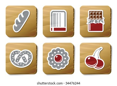 Sweeties and Bakery icons. Three color icons on cardboard tags.
