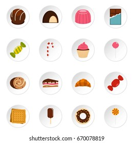 Sweets and candies icons set in flat style isolated  icons set illustration