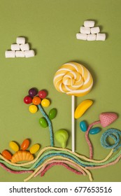 Sweets - candies, marmalade, sweets on the background, top view