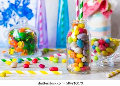 Sweets in glass bottle