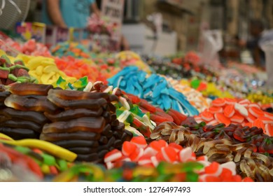 sweets and jelly at Mahane Yehuda, shuk, Jewish grocery market in Jerusalem, Israel