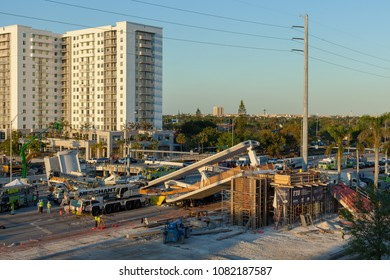 Sweetwater, Florida / USA - March 15 2018: Newly constructed bridge collapsed near Florida International Univercity