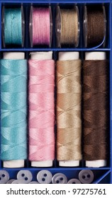 A sweing set with different colors of fine thread