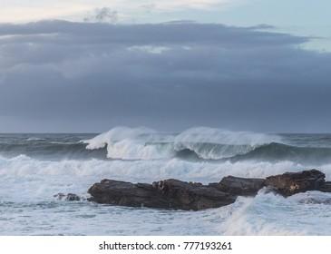 swell on the Galician coast on an autumn day