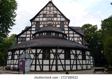 Swidnica, Poland, IX 2019 : Church of Peace Of the Holy Trinity in Świdnica. A wooden Evangelical building from the 17th century entered on the UNESCO list.