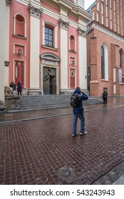 Swientojanska street, Old Town, Warsaw, Poland-October 17, 2016: Leads from the Castle square to the Old Town Market square, passing by the Jesuit  and St. John Cathedral churches as seen