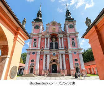 Swieta Lipka, Poland - August 29, 2017. The St. Mary basilica, a masterpiece of baroque architecture.