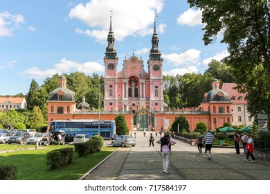 Swieta Lipka, Poland - August 29, 2017. The St. Mary basilica, a masterpiece of baroque sacral architecture.