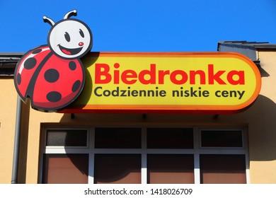 SWIETOCHLOWICE, POLAND - APRIL 7, 2018: Biedronka supermarket in Swietochlowice, Poland. Biedronka grocery store chain has over 2,800 locations in Poland.