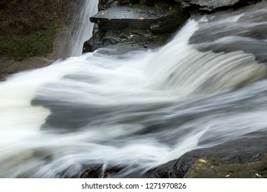 Swift rapids at the top of Brandywine Falls in Cuyahoga Valley National Park in northern Ohio.