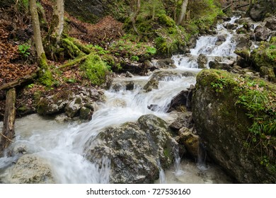 Swift water stream with waterfalls landscape in Mala Fatra NP, Slovakia