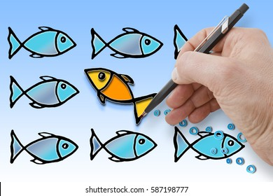 Swim against the tide - Hand draws a fish that goes against the current