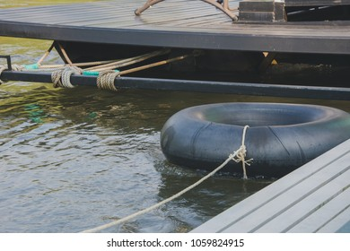 swim tube at rafting house, Old inner tubes floating on a river, selective focus