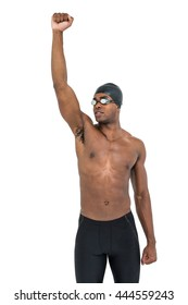 Swimmer posing after victory on white background