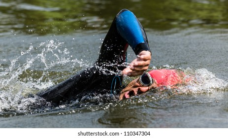 swimmer in a triathlon competition