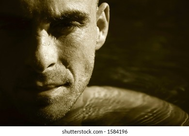 Swimmer in water concentrating