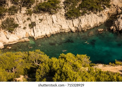 Swimmers in the Bay, Cassis, Southern France, French Riviera, Europe