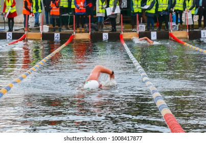 swimmers swim in cold water
