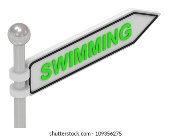 SWIMMING arrow sign with letters on isolated white background