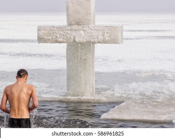 swimming in the baptism in the Epiphany frosts. Ice water.