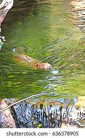Swimming beaver shot with camera set to illustration mode