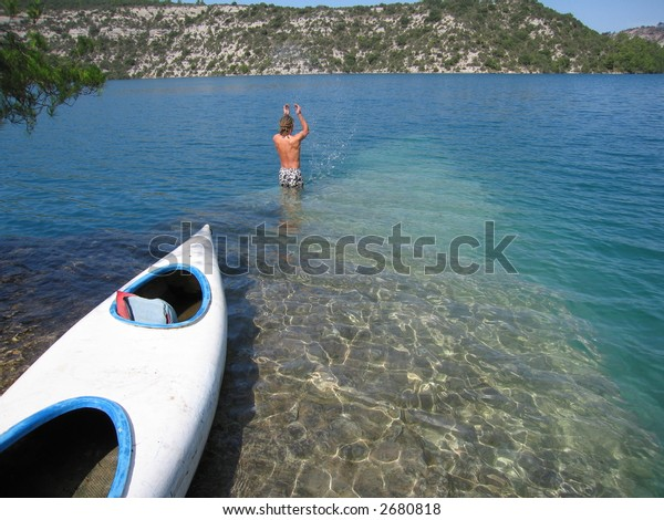 swimming canoe