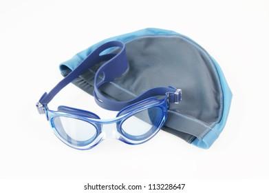 Swimming cap and glasses