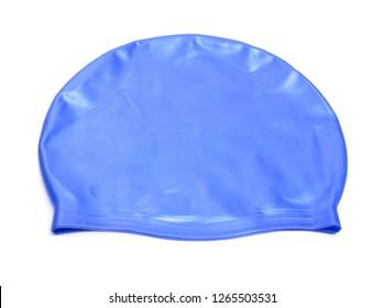 A swimming cap, swim cap or bathing cap isolated on white.
