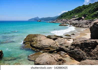 Swimming and enjoying the beach and nature of Lopes Mendes in Ilha Grande, Rio, Brazil