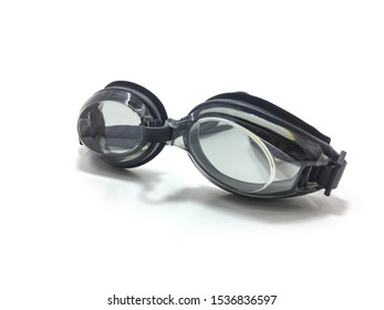 Swimming goggles on a white background.
