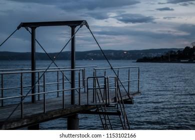 Swimming jetty by night