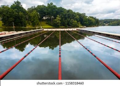 Swimming lanes on a lake, in Rockaway, Morris county, New Jersey