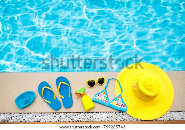 Swimming Pool Accessories Flat Lay Top Stock Photo (Edit Now ...